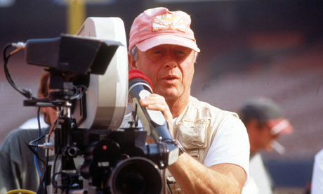 Tony Scott, wearing his trademark pink cap, on the set of The Fan (1996)